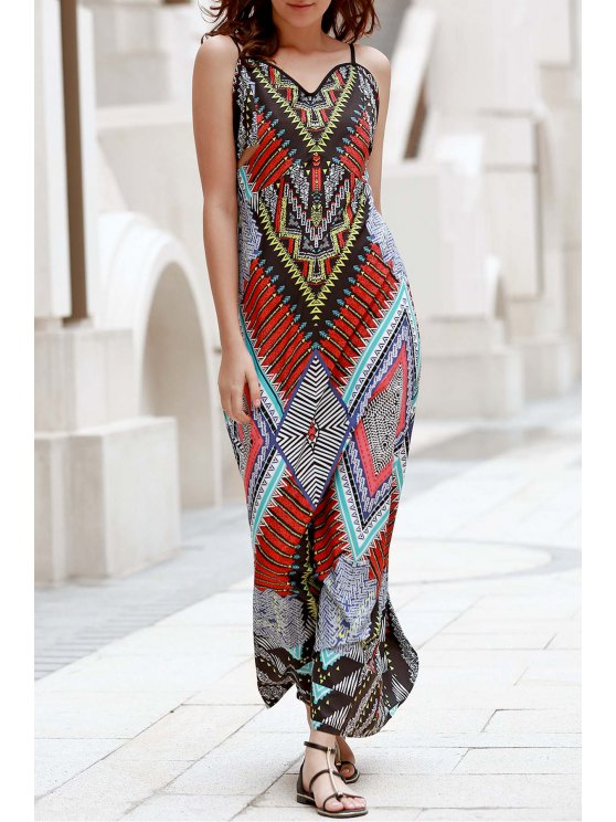 Low Back Printed Boho Kleid - COLORMIX  S