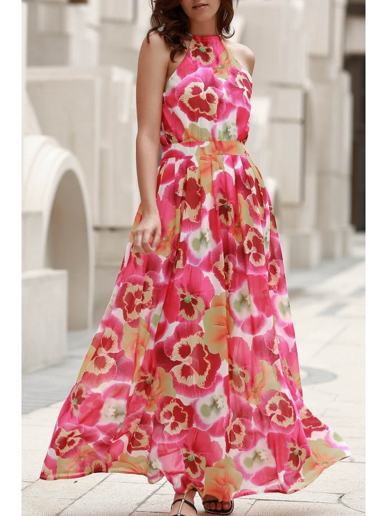 latest High Neck Full Floral Flowing Dress - COLORMIX L