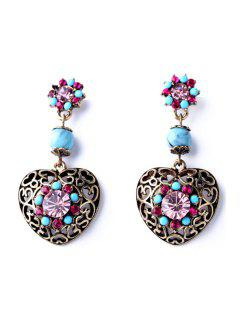 Retro Hollow Out Heart Earrings - Copper Color