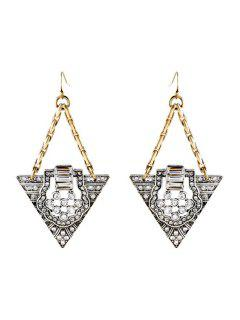 Retro Rhinestone Triangle Earrings - Golden