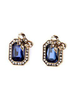 Pair Of Retro Faux Crystal Rectangle Earrings - Sapphire Blue