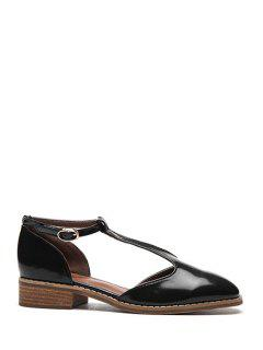 T-Strap Patent Leather Flat Shoes - Black 39