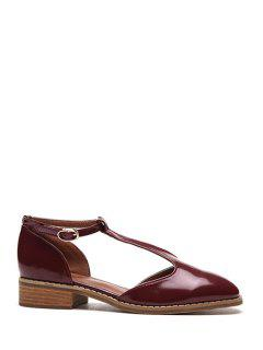 T-Strap Patent Leather Flat Shoes - Wine Red 39