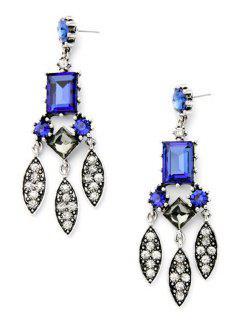 Fashionable Faux Sapphire Leaf Earrings - Blue