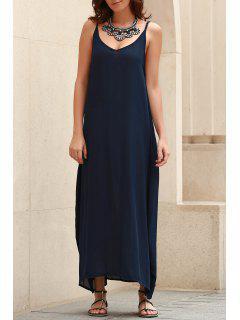 Spaghetti Strap Loose Fit Maxi Dress - Blue Xl
