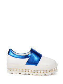 Beading Color Block Slip-On Platform Shoes - Blue 39