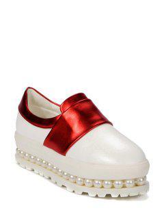 Beading Color Block Slip-On Platform Shoes - Red 39