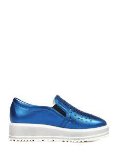 Hollow Out Slip-On Platform Shoes - Blue 39