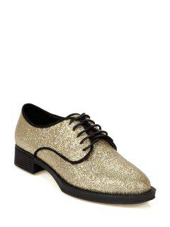 Sequined Solid Color Lace-Up Flat Shoes - Golden 35