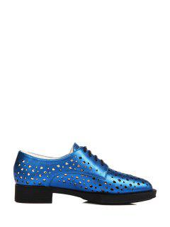 Hollow Out Lace-Up Flat Shoes - Blue 34