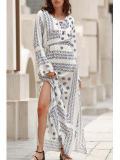 Flare Sleeve Blue And White Maxi Dress - White Xl