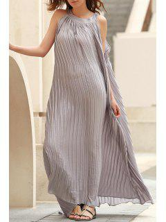 Pleated Flared Long Dress - Gray