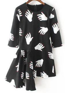 Hand Print Round Neck Half Sleeve Dress - Black L