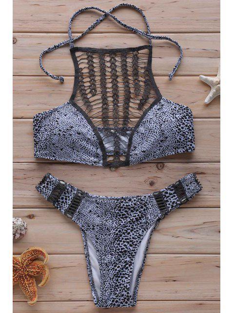 sale Leopard Print High Neck Crochet Bikini Set - GRAY S Mobile