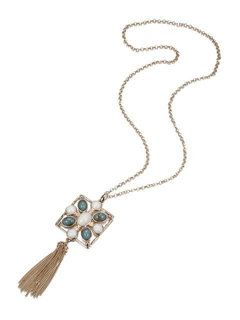 unique Stylish Stone Decorated Link Chain Tassel Necklace - GOLDEN  Mobile