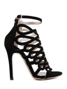 Buy Solid Color Hollow Stiletto Heel Sandals - BLACK 37
