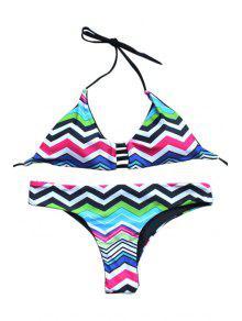 Zig Zag Print Cami Bikini Set - S