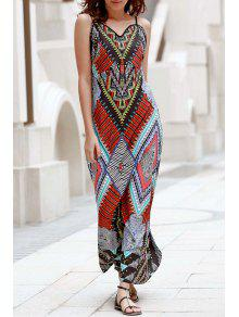 Low Back Printed Boho Dress - S