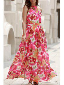 High Neck Full Floral Flowing Dress - S