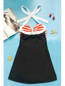 c37425a6bd1 2019 Halter Convertible Sailor Retro Swimdress Bathing Suit In BLACK ...
