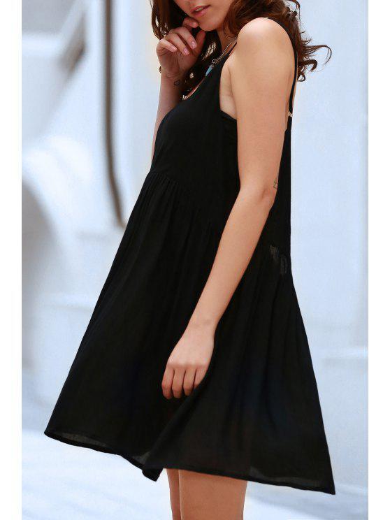 fashion Black Flared Cami Dress - BLACK XL