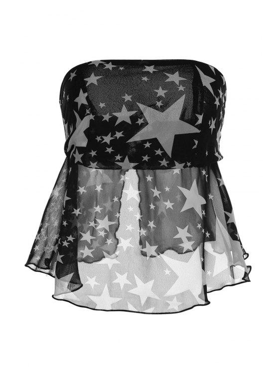 womens Strapless Pentagram Print Wrapped Chest Tank Top - BLACK M