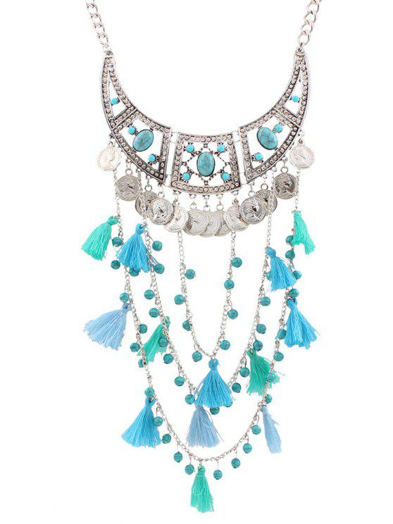 outfits Bohemia Coin Tassel Multi-Layered Necklace - BLUE