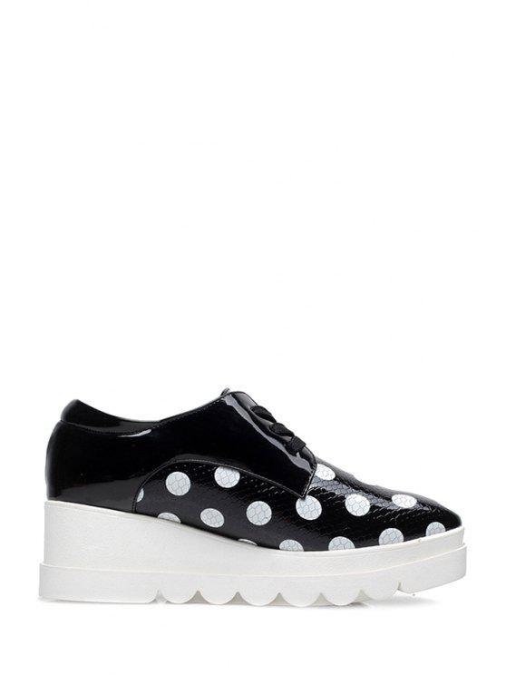 buy Polka Dot Lace-Up Platform Shoes - BLACK 39