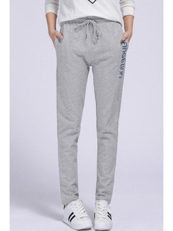 chic Side Letter Graphic Running Pants - GRAY XL