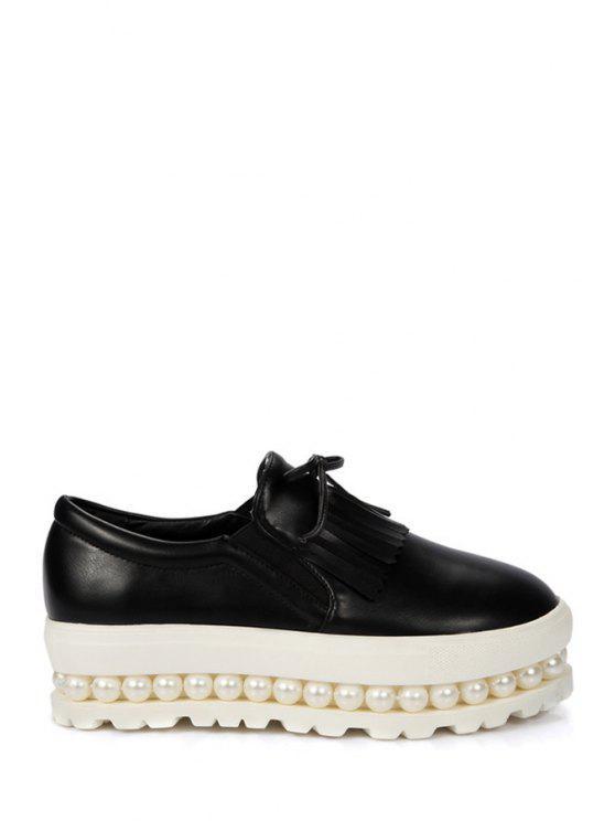 Chaussures de plate-forme Fringe Faux Perle Slip-On - Noir 39