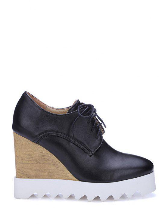 Chaussures compensées couleur pure lacées haut - Noir 39