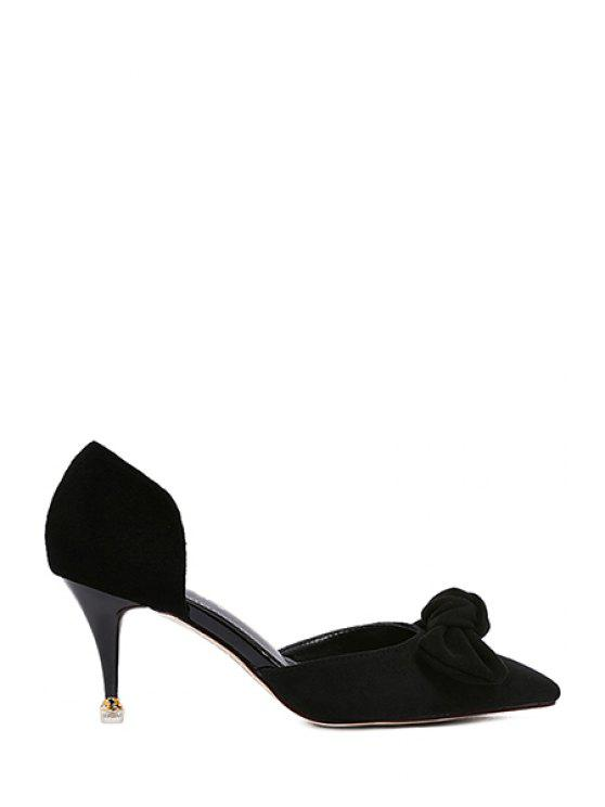 ladies Bowknot Two-Piece Pointed Toe Pumps - BLACK 36