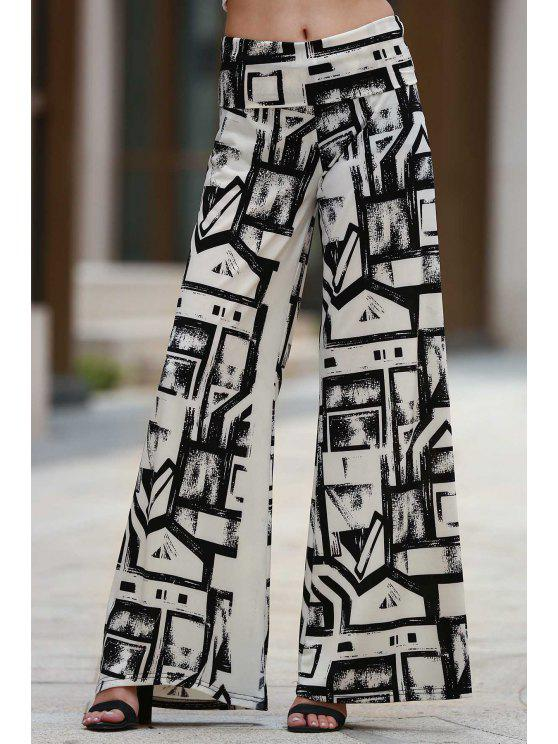Geométrica de impresión Palazzo Pantalones - Blanco y Negro M
