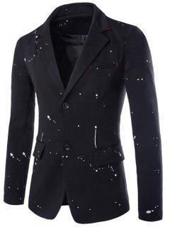 Flap Pocket Splatter Paint Design Blazer - Black L