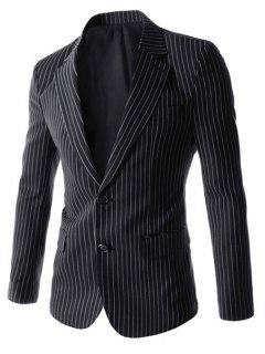 Turn-Down Collar Flap Pocket Vertical Stripes Long Sleeve Men's Blazer - Black L