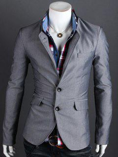Stand Collar Single Breasted Long Sleeve Men's Blazer - Gray L