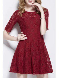 Openwork Lace Hook Skater Dress - Wine Red S