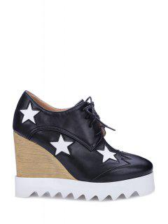 Star Pattern Lace-Up Wedge Shoes - Black 39