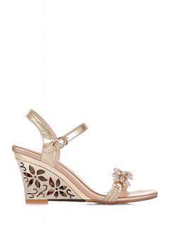 Rhinestone Hollow Out Wedge Heel Sandals - Golden 37