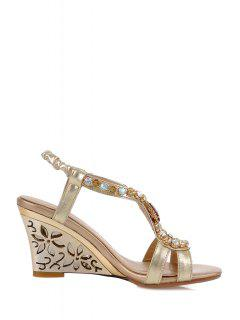 Hollow Out Wedge Heel Rhinestone Sandals - Golden 39