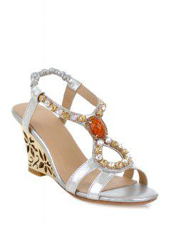 Hollow Out Wedge Heel Rhinestone Sandals - Silver 39