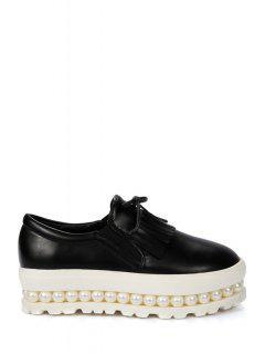 Fringe Faux Pearl Slip-On Platform Shoes - Black 39