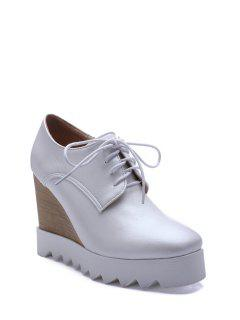 Solid Color Lace-Up Wedge Shoes - White 38