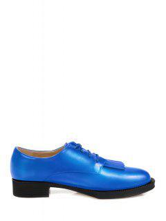 Fringe Solid Color Lace-Up Flat Shoes - Blue 35