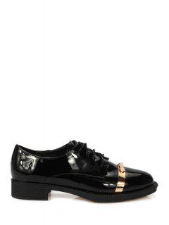 Faux Pearl Lace-Up Flat Shoes - Black 35