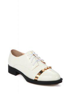 Faux Pearl Lace-Up Flat Shoes - White 39