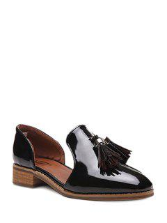 Double Tassels Solid Color Flat Shoes - Black 39