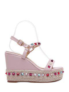 Colorful Rivet Weaving Wedge Heel Sandals - Pink 39