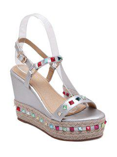Colorful Rivet Weaving Wedge Heel Sandals - Silver 39