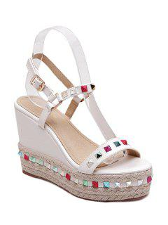 Colorful Rivet Weaving Wedge Heel Sandals - White 39